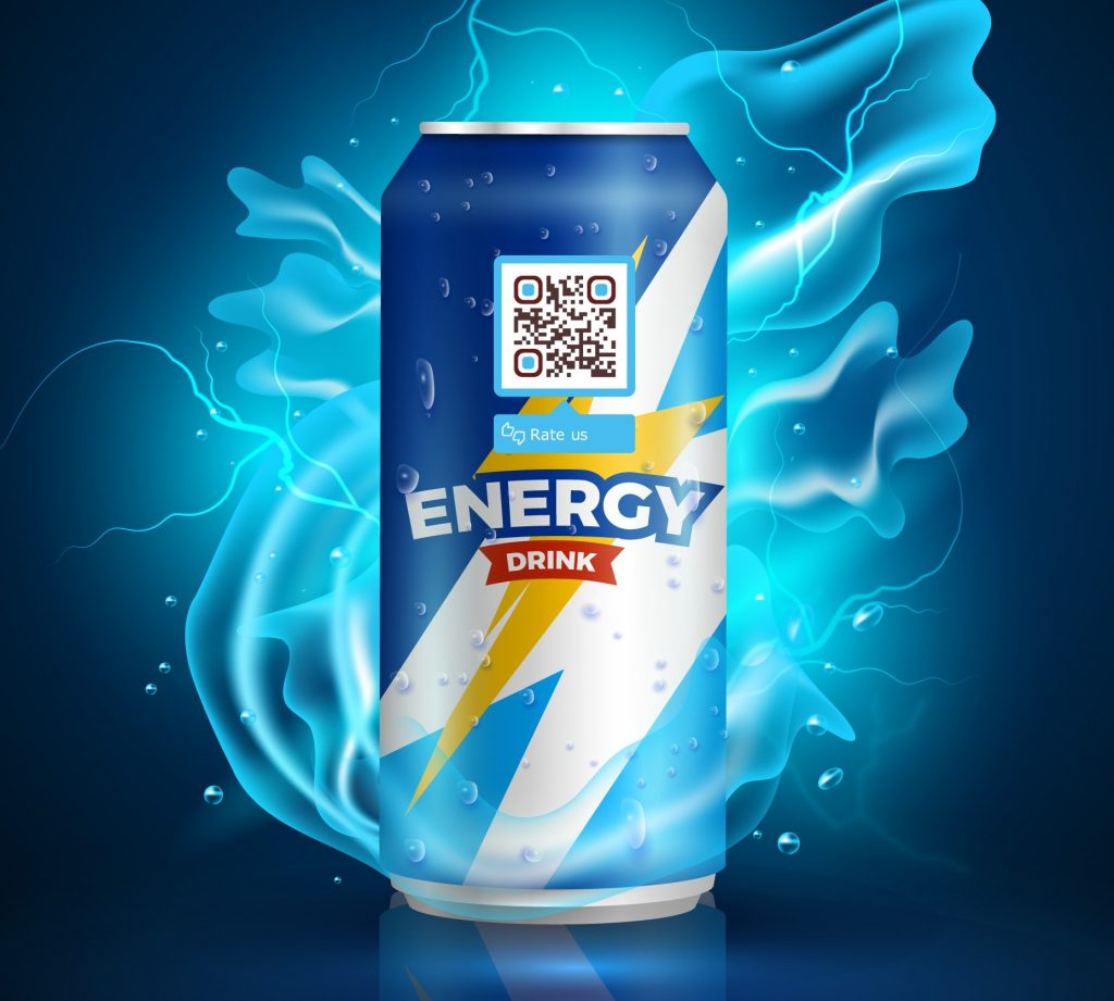 QR code on energy drink can