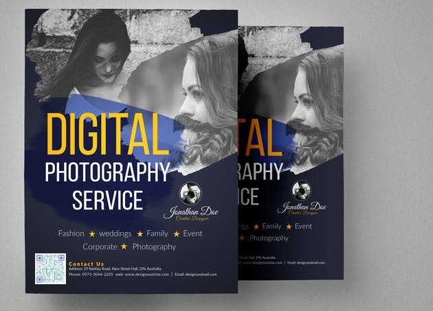 QR code on photography service Flyer