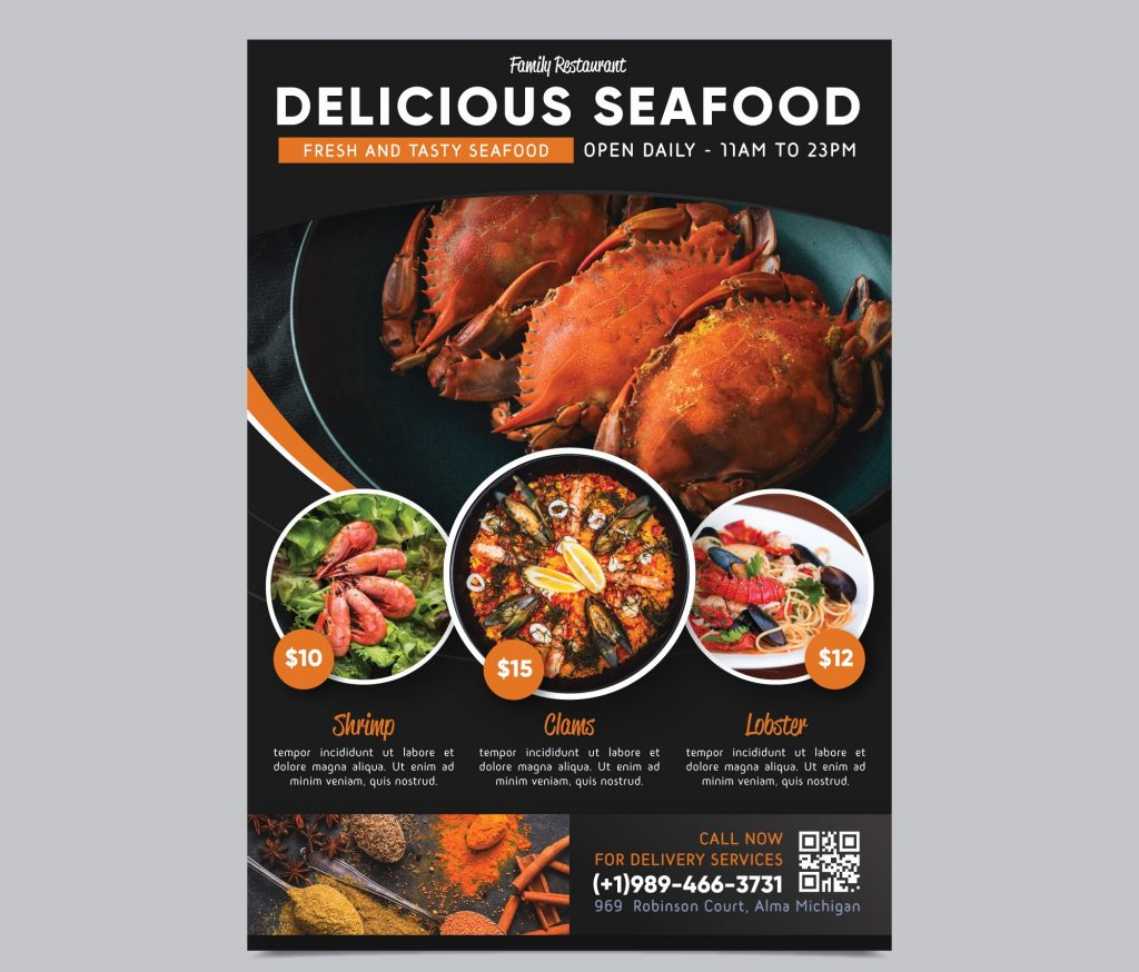 QR code on restaurant Flyer