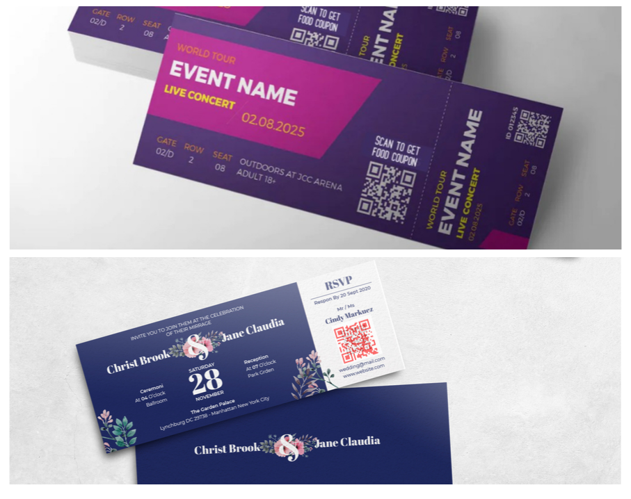 QR code on event and wedding invitation ticket